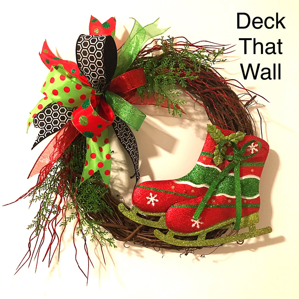 Red, Lime Green Christmas Grapevine Wreath w/ Ice Skates