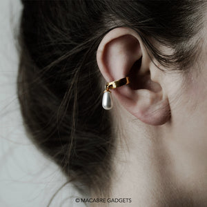 PEARL DROP EAR CUFF - GOLD