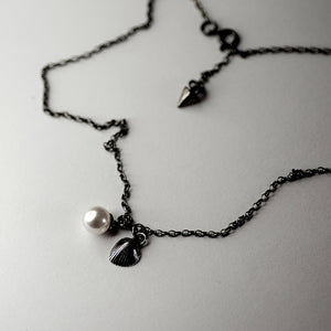 SHELL & PEARL PENDANT - SILVER