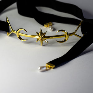 TWIN MOON CHOKER - GOLD