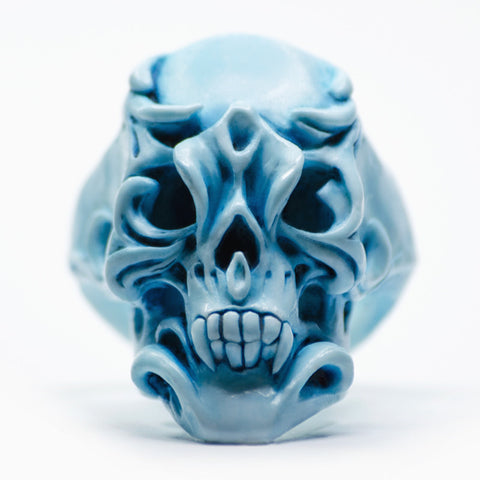 BLUE ORCHID SKULL RING