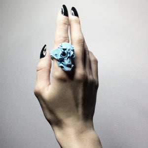 BLUE ORCHID SKULL RING - only 1 left in stock