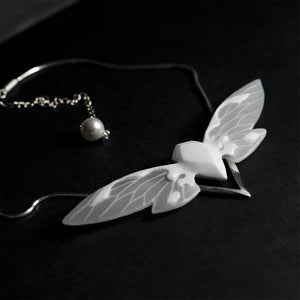 WHITE CICADA NECKLACE