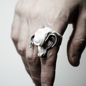 WHITE MINOTAUR RING