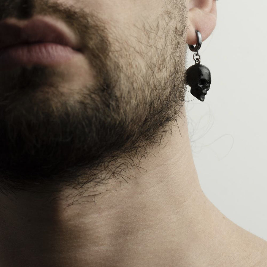 BLACK SKULL EARRING