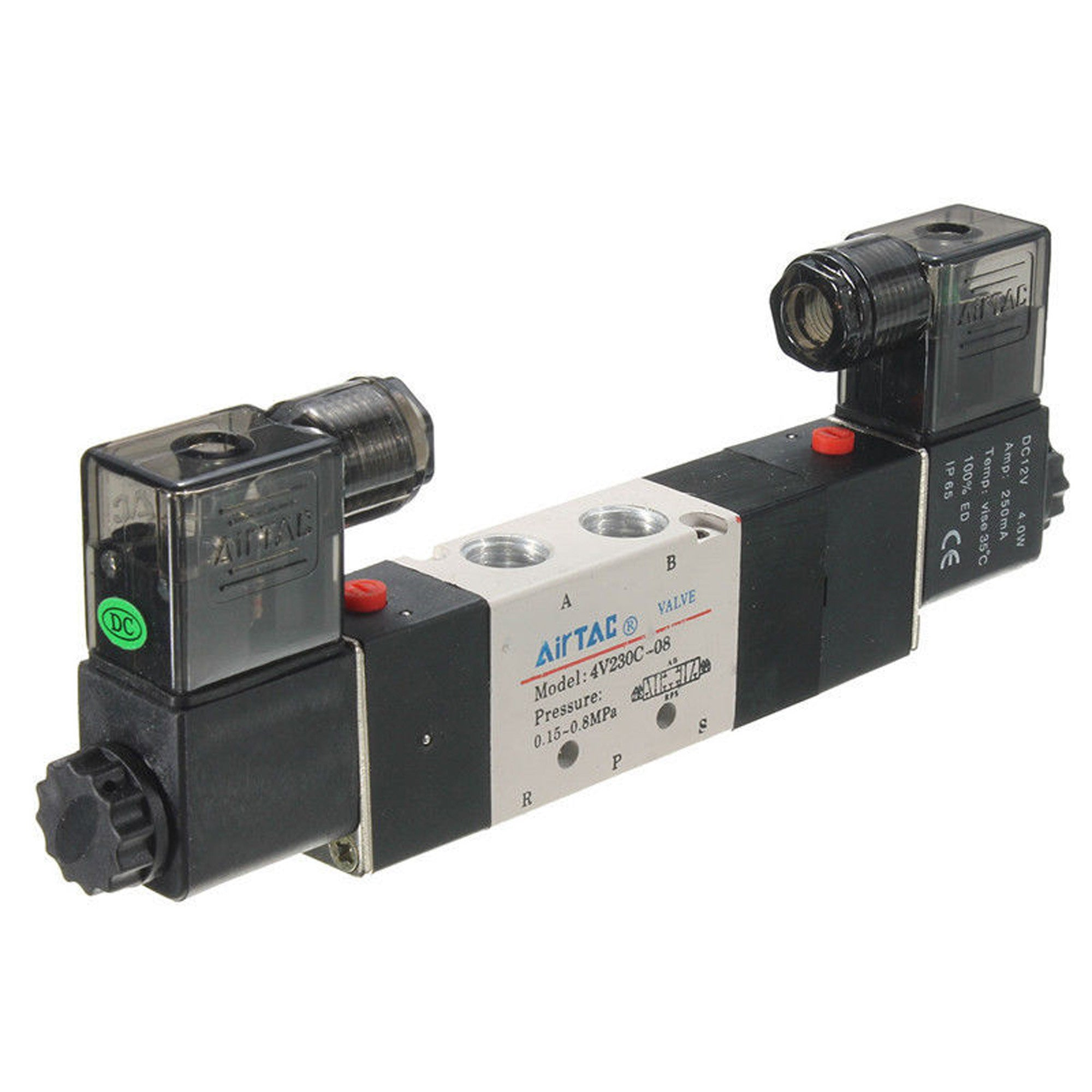 4V230C-08 DC12V Double Head 3 Position 5 Way Pneumatic Solenoid Valve