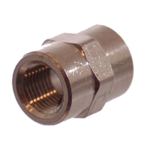 1/8 NPT Female To 1/8 NPT Female Brass Coupler- Finish: Nickel - fittings - Air Fittings - Palmers Pursuit Shop