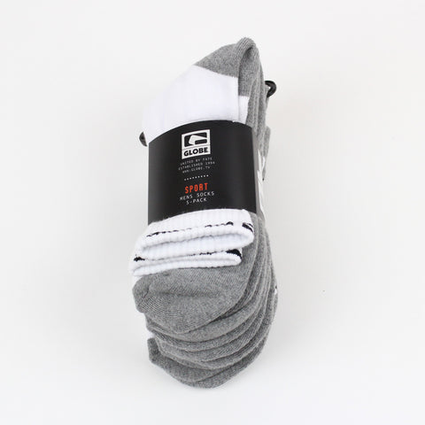 Globe Mens Quarter Socks 5pk White/Grey