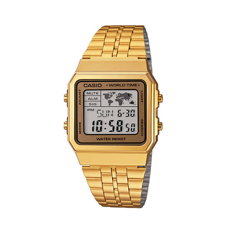 Casio World Time Square LED Watch Gold