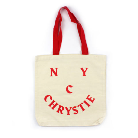 Chrystie Smile Logo Tote Canvas Red
