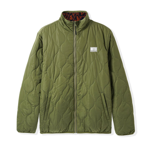 Butter Goods Reversible Puffer Jacket Green/Leopard