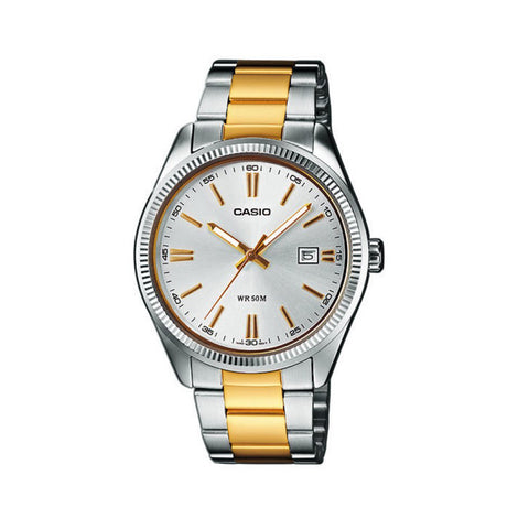 Casio Watch Gents Analogue Watch Gold Hands MTP1302SG-7A