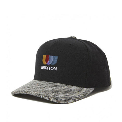 Brixton Alton Emb C MP Snapback Black/White Herringbone