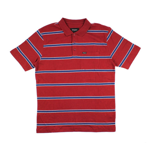 Brixton Hilt Washed S/S Polo Burgundy/Navy
