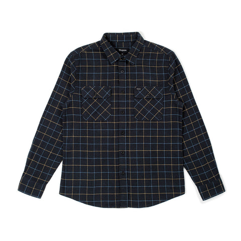 Brixton Bowery Longsleeve Flannel Washed Black/Blue