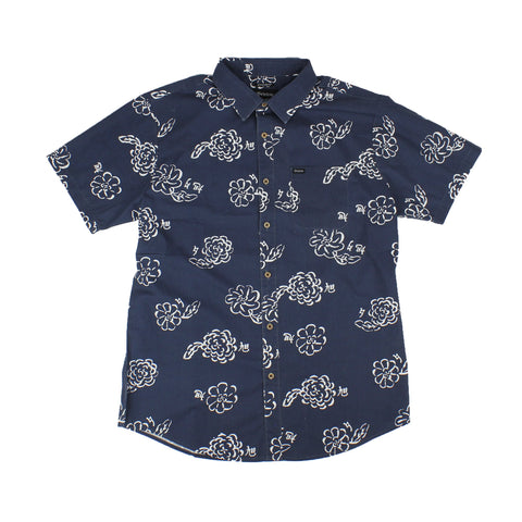 Brixton Charter Print S/S Woven Navy/Off White