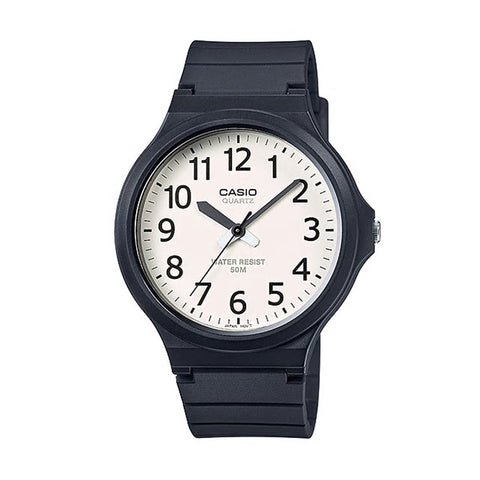 Casio Gents Analogue White Face Black Numbers
