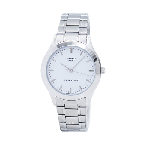 Casio MTP Gents Analog White Face Silver Band