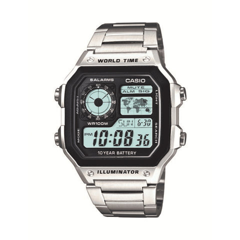 Casio Auto illuminator 10 Year Battery Silver AE1200WHD1A