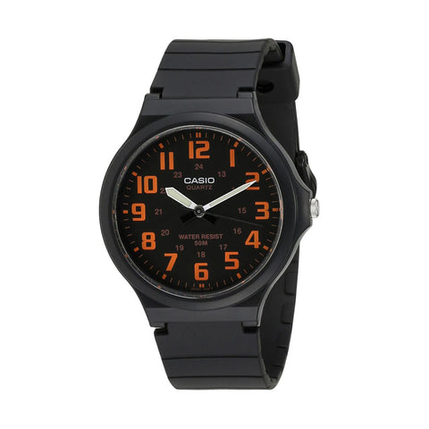 Casio Gents Analogue Black With Orange Numbers