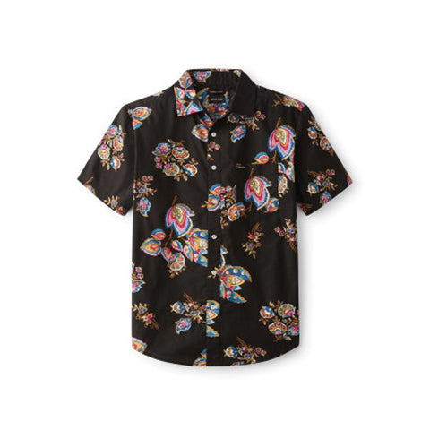 Brixton Charter Print Short Sleeve Shirt Black/Purple