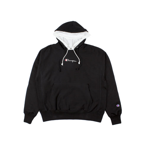 Champion Reverse Weave Double Hood Black/White