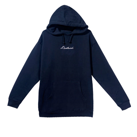 Deathwish Embroidered Script Navy Hood