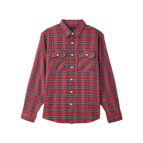 Brixton Bowery LW X Flannel Longsleeve Cowhide Red