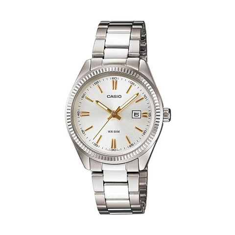 Casio MTP1302D-7A2 Gents Analog White/Gold Battern