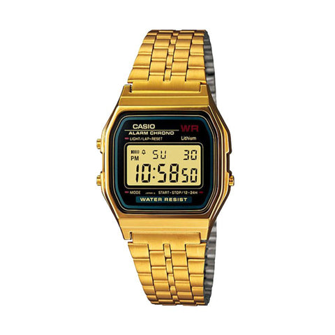 Casio A159 Mirror Finnish Gold/Black