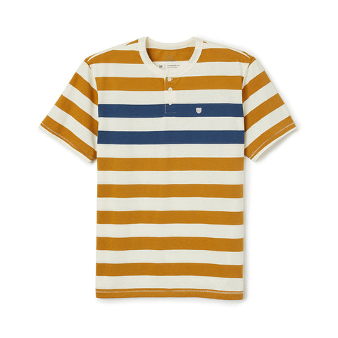 Brixton Hilt Henley Knit Tee Off White/Bronze/Joe Blue