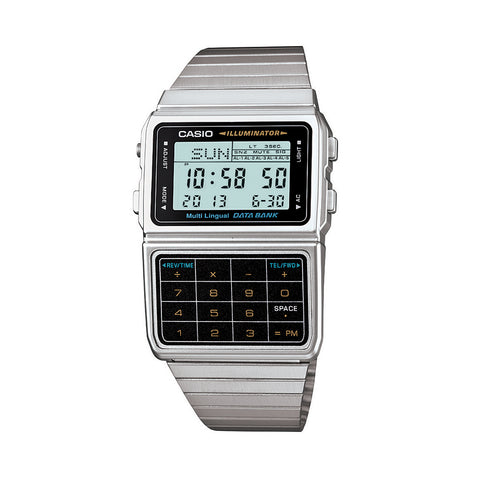 Casio Watch Data Bank Telememo Calculator Steel DBC611-1D