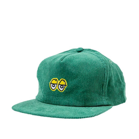 Krooked Eyes Cord Snapback Cap Green/Yellow
