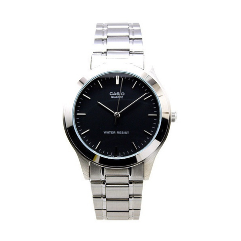 Casio Gents Analogue Black Face Silver