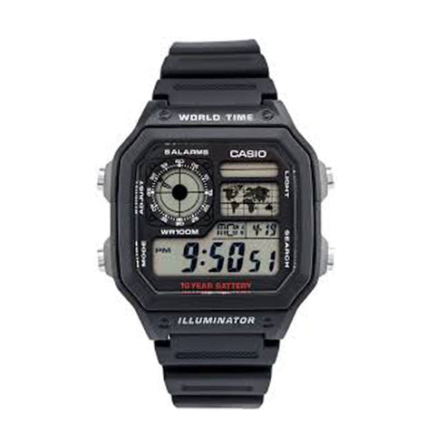 Casio Auto Illuminator Black/Red AE1200WH-1A