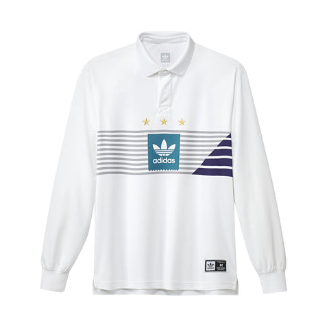 Adidas Elevated Rugby Shirt White/Grey/Teal