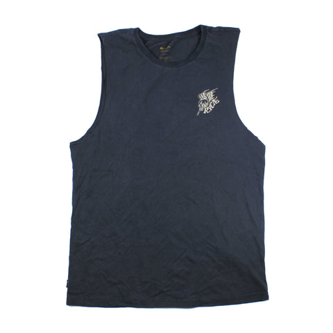 RVCA Dmote Skull Dragon Muscle Tee Navy Acid