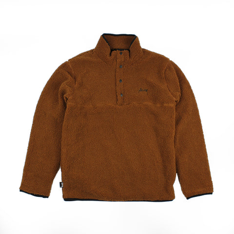 Stussy Stock Sherpa Button Crew Brown
