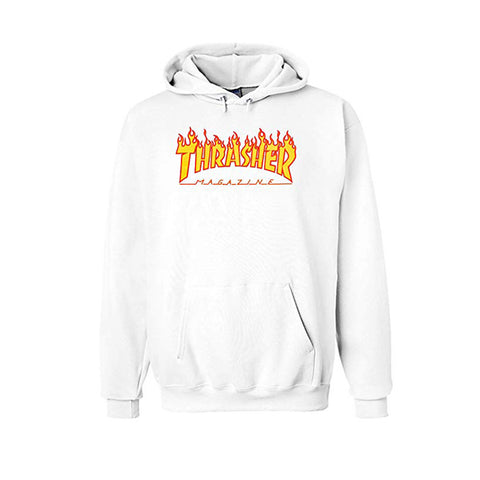 Thrasher Flame Logo Hood White