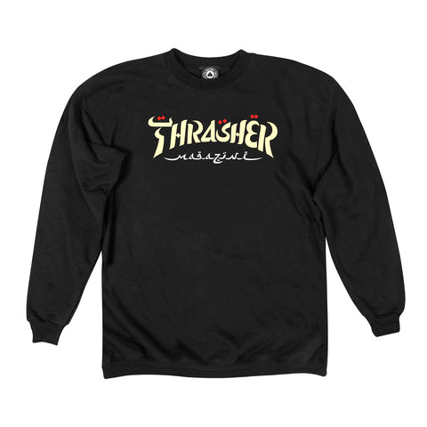 Thrasher Calligraphy Crewneck Black