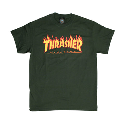 Thrasher Flame Logo Tee Forest Green