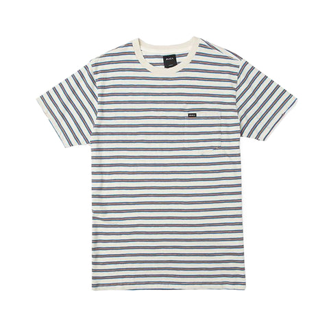 RVCA Vincent Stripe Tee Silver Bleac
