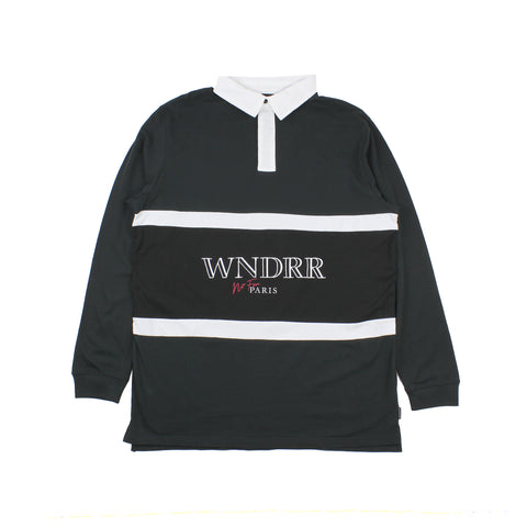 WNDRR Pierre Longsleeve Rugby Polo Top Black