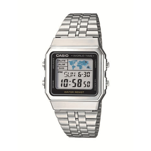 Casio World Time Square LED Watch Silver