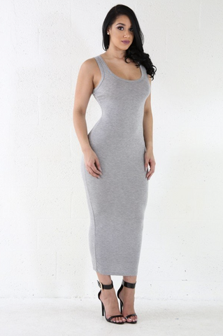 """Laura"" Grey Tank Dress"