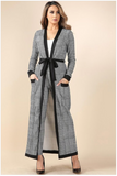 Reina Flocked Plaid Maxi Cardigan & Leggings Set