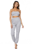 """Lorena"" Heather Grey Jogger Set"