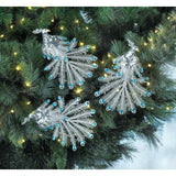 Blue Gem Peacock Ornament Set