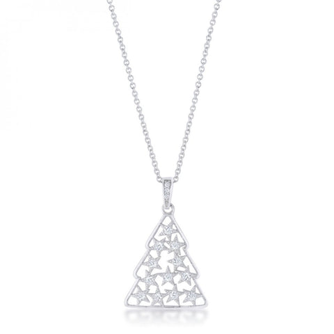 .2 Ct Cz Rhodium Christmas Tree Pave Holiday Pendant - shophomegardens.com