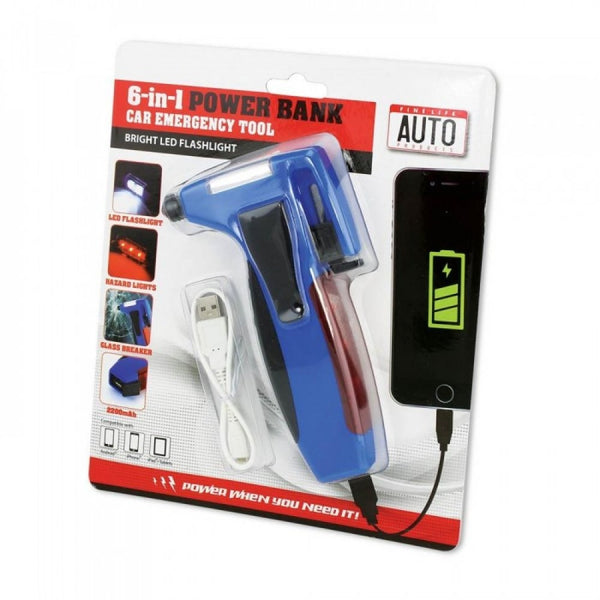 6 In 1 Car Emergency Tool W/power Bank - shophomegardens.com
